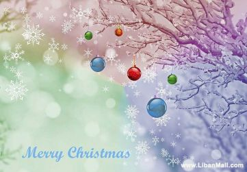 Free christmas ecard from lebanon, free greeting cards, free seasons greetings card, happy holidays card, merry christmas card, christmas tree decorations, light blue background