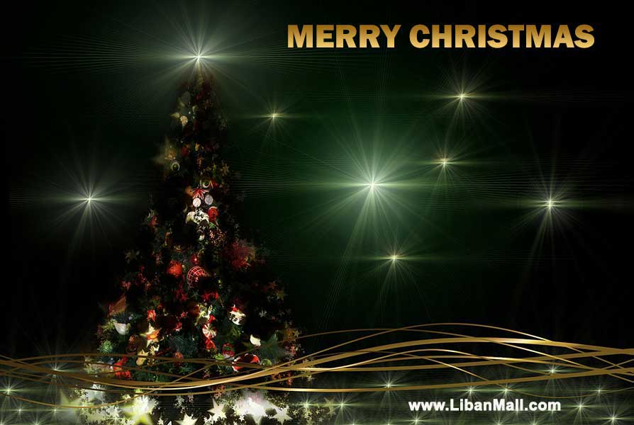 Free christmas ecard from lebanon, free greeting cards, free seasons greetings card, happy holidays card, merry christmas card,christmas tree, green background
