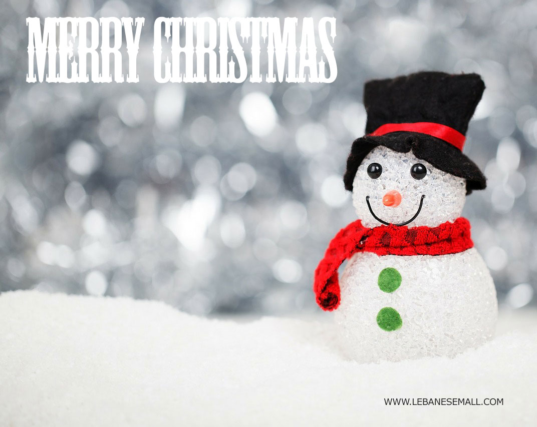 Free christmas ecard from lebanon, free greeting cards, free seasons greetings card, happy holidays card, merry christmas card, snowman with snow background