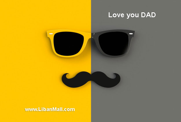Yellow and black Glasses and mustache fathers day card