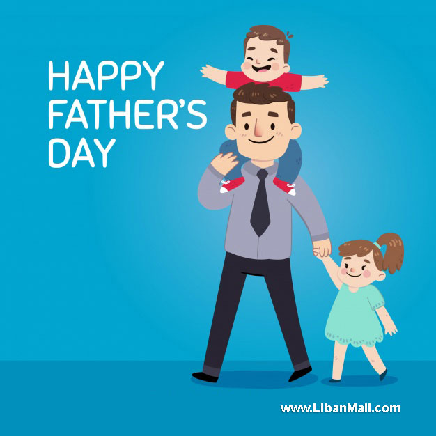 Father and two children blue fathers day card