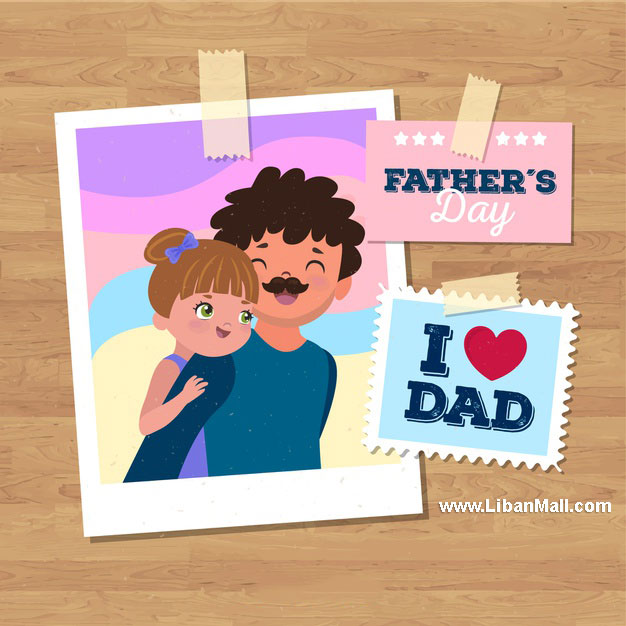 Happy Fathers day card picture of dad and daughter with i love you dad message